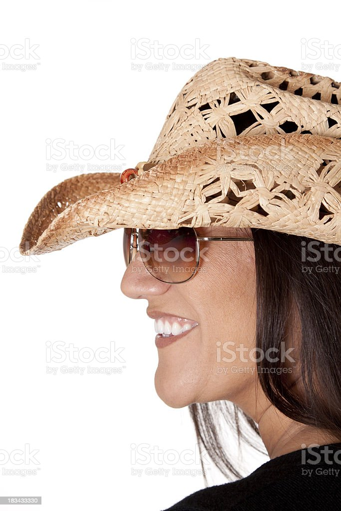 Smiling Woman in a Cowboy Hat stock photo