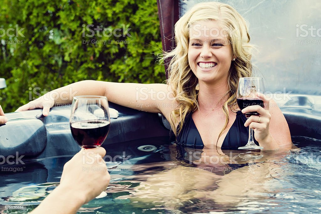 Smiling woman in a spa stock photo