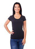 istock Smiling woman in black t-shirt 681257622