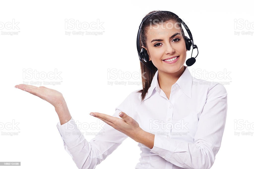 Smiling woman in headset presentation something royalty-free stock photo