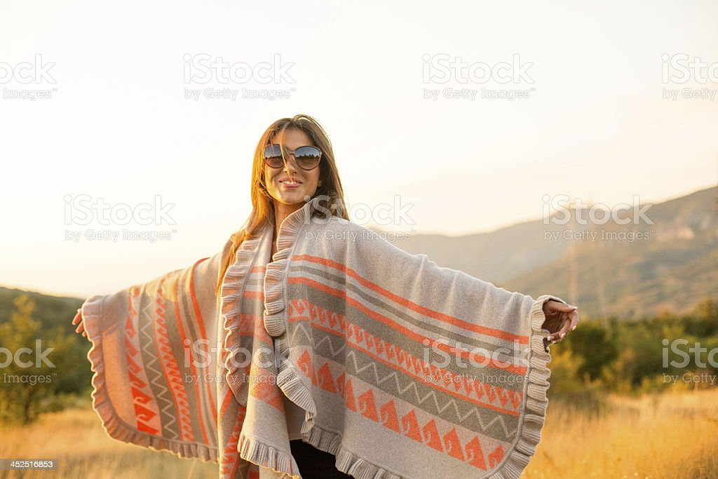 Smiling woman in nature stock photo
