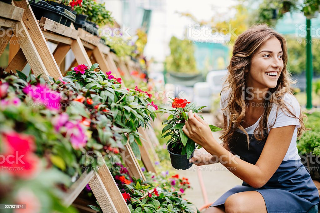 Smiling woman in the garden center stock photo