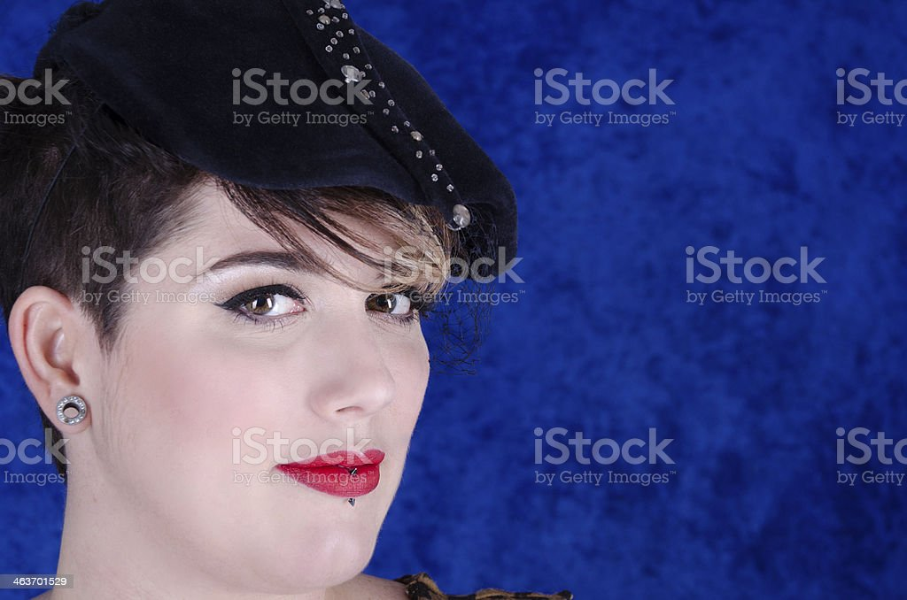 Smiling woman in vintage hat. royalty-free stock photo