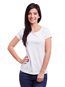 istock Smiling woman in white t-shirt 598678714