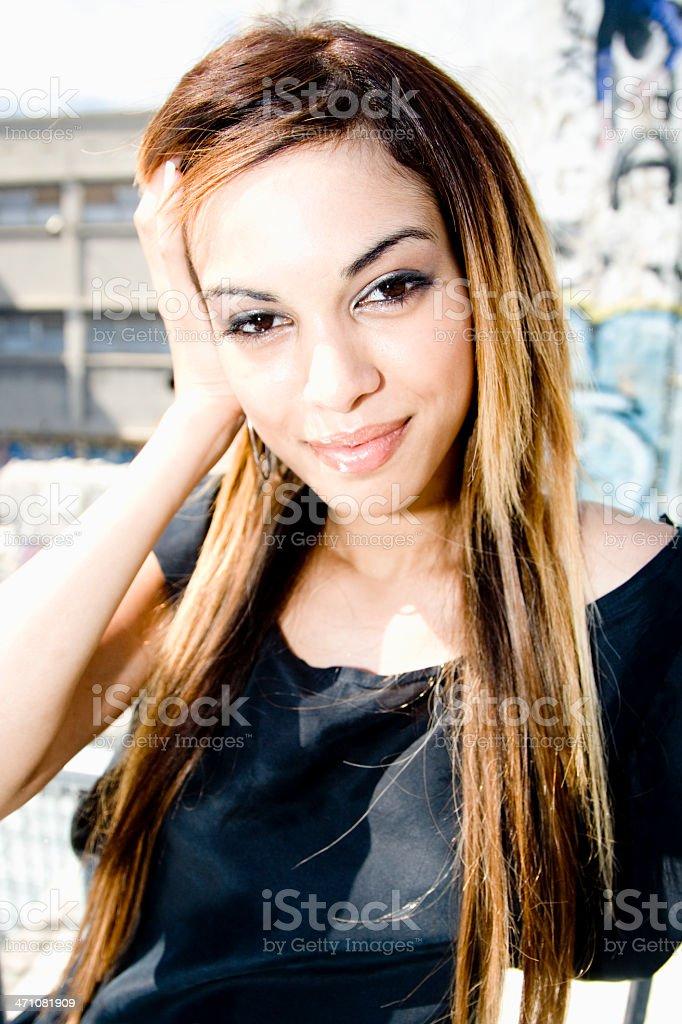 Smiling woman lifestyle portrait royalty-free stock photo