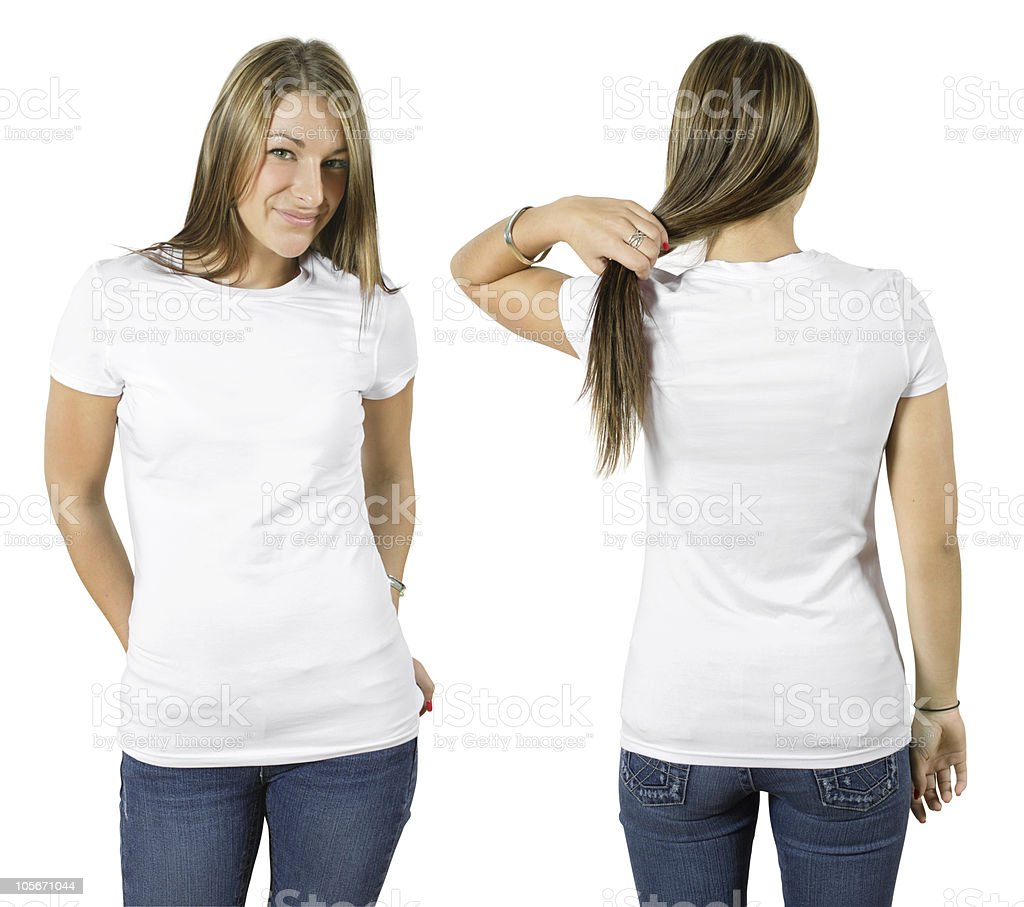 Smiling woman modeling white shirt and blue jeans stock photo