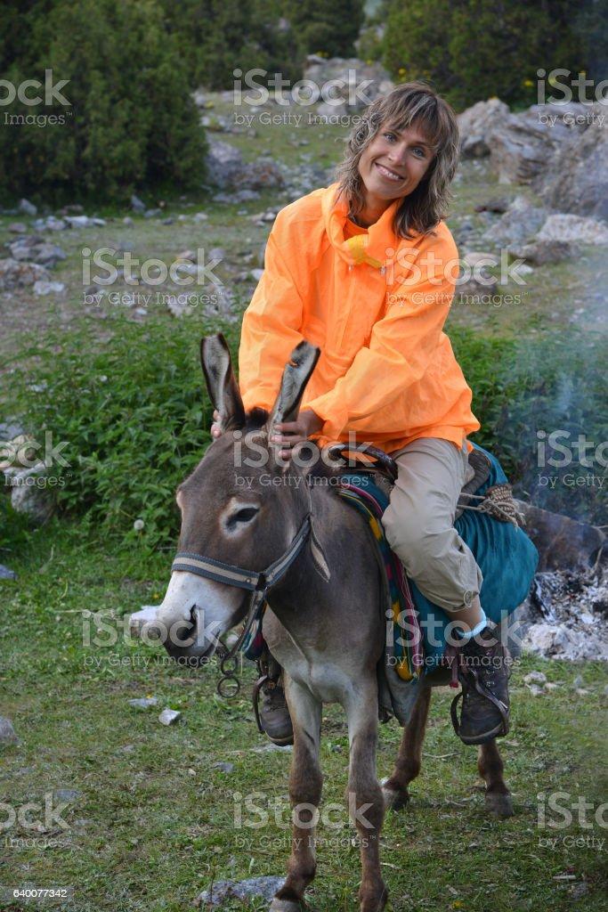 Smiling woman on donkey stock photo