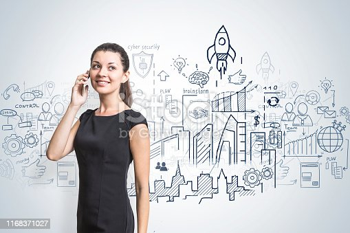 895493084 istock photo Smiling woman on phone, business plan 1168371027