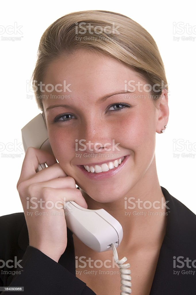 Smiling woman on phone royalty-free stock photo