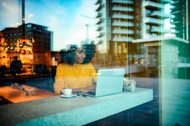 Smiling woman using laptop at the bar. stock photo
