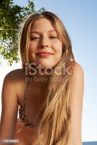Smiling Woman Wearing Bikini Outdoors Stock Photo  More -1991