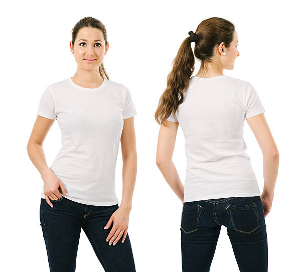 Smiling woman wearing blank white shirt stock photo