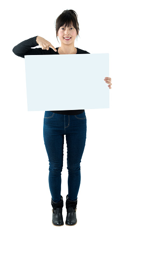 Smiling woman with a blank board.