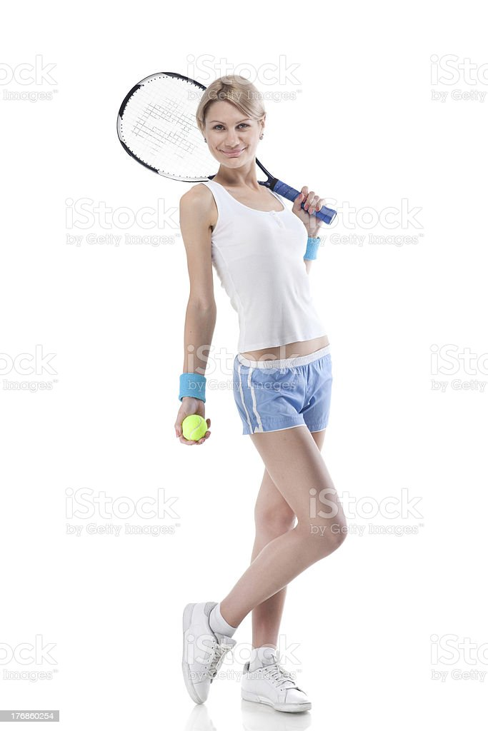 smiling woman with a tennis racquet isolated on white royalty-free stock photo