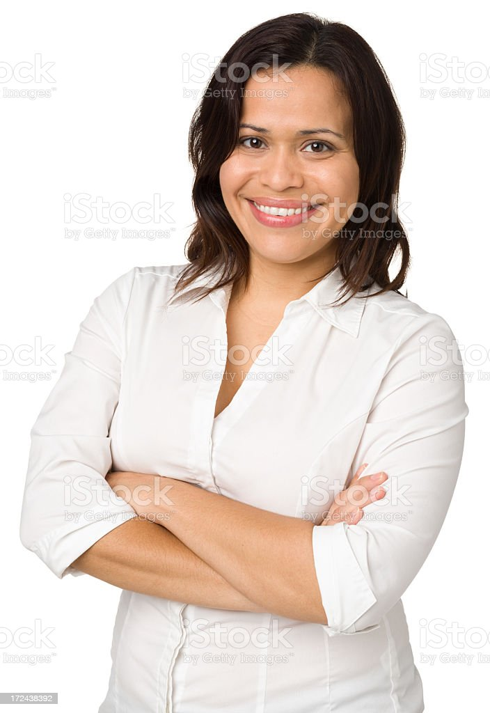 Smiling Woman With Arms Crossed royalty-free stock photo