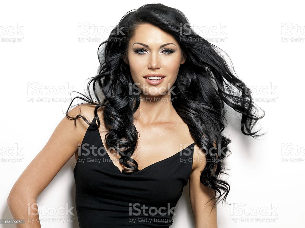 Smiling woman with beauty long hair royalty-free stock photo
