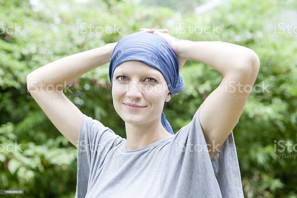 Smiling Woman with Cancer stock photo
