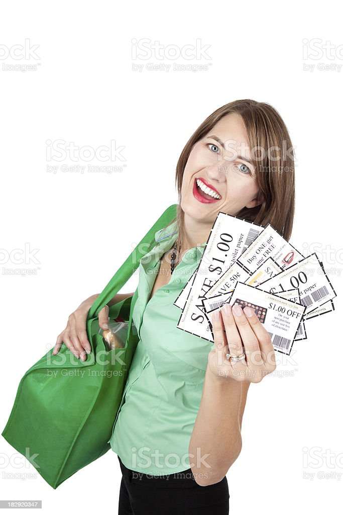 Smiling Woman With Coupons And Grocery Bag royalty-free stock photo