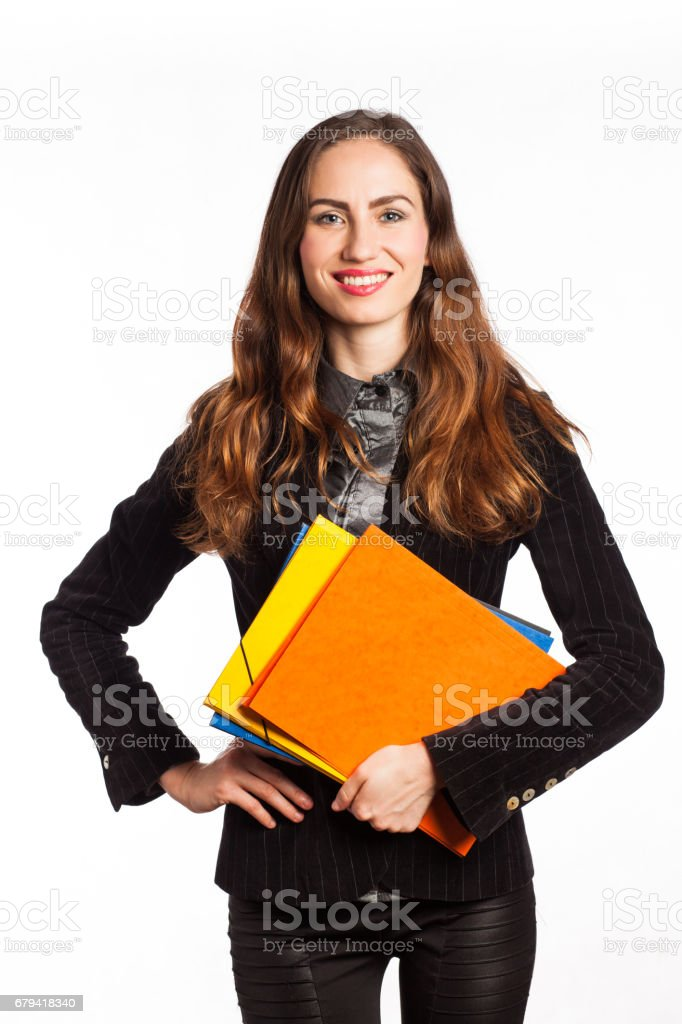 Smiling woman with folders royalty-free stock photo
