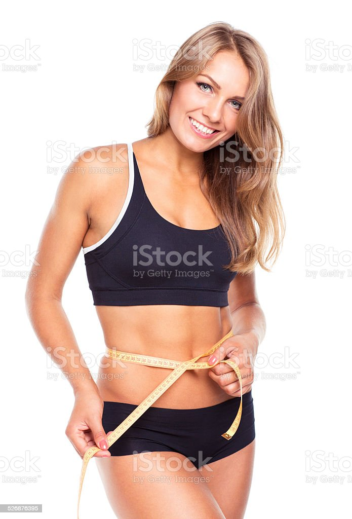 Smiling woman with measuring tape isolated on white stock photo