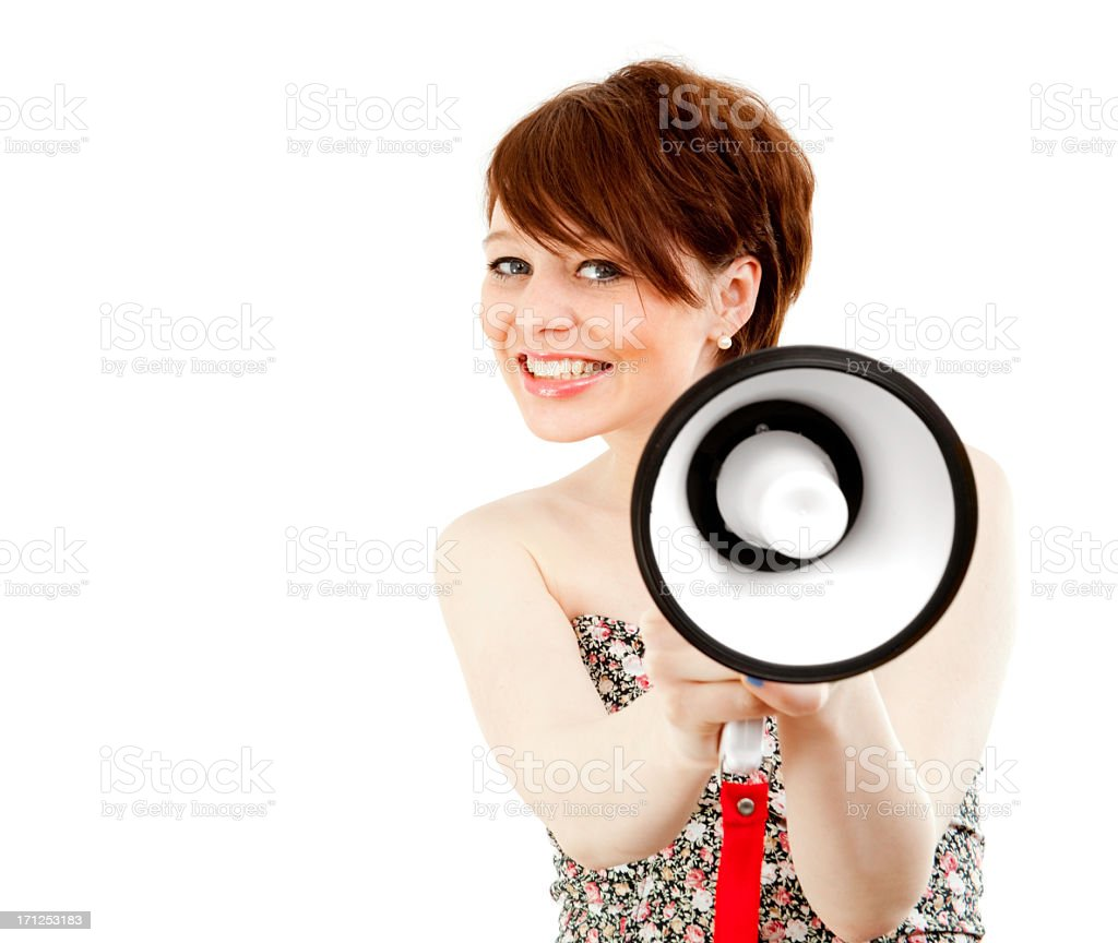 Smiling woman with megaphone on white royalty-free stock photo