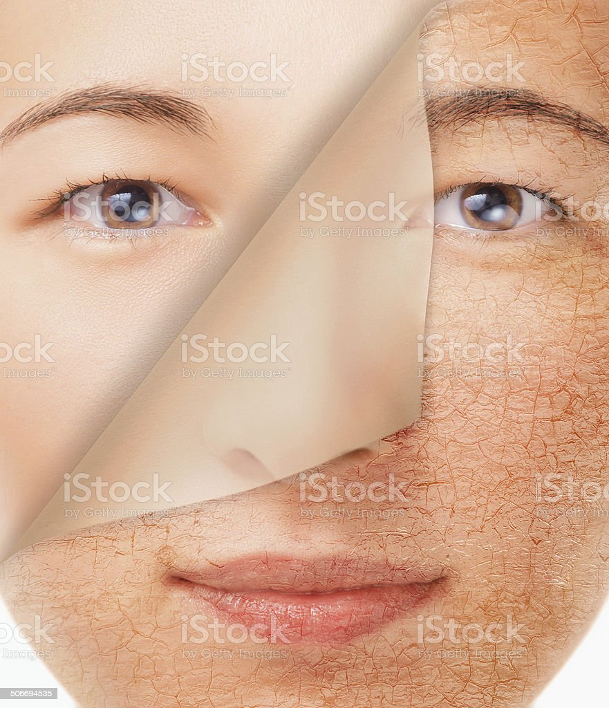 Smiling woman with new smooth skin stock photo