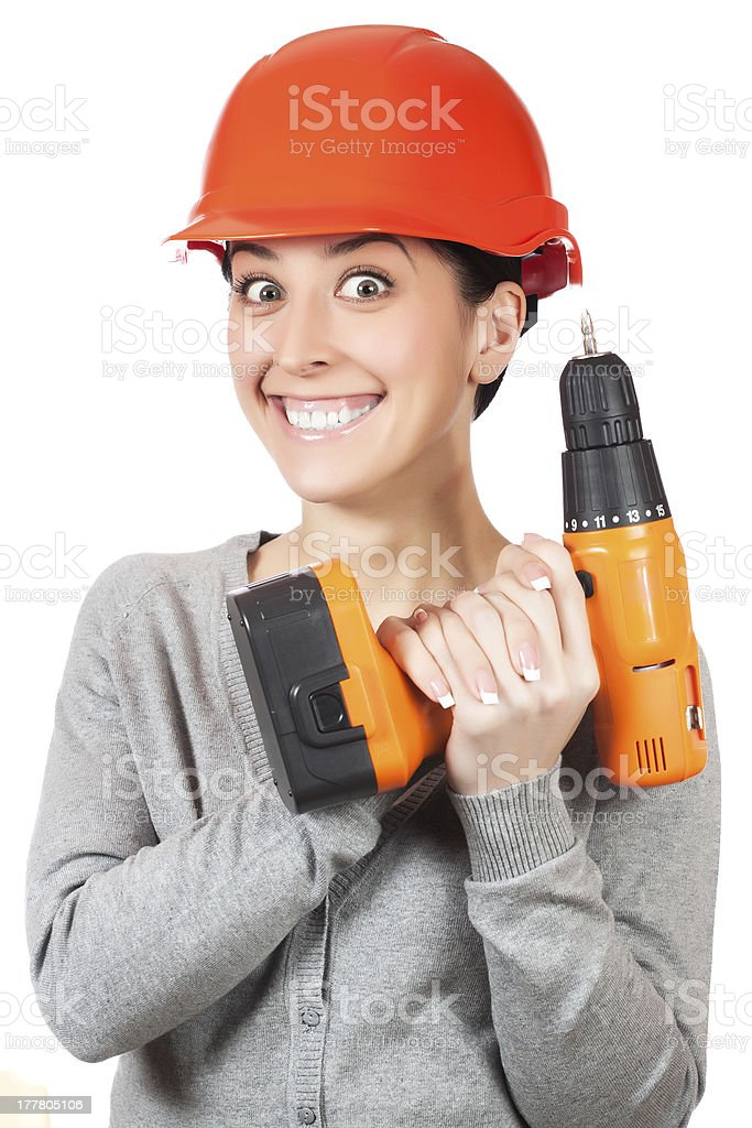 smiling woman with orange hard hat. isolated royalty-free stock photo