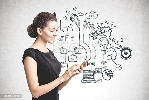 895493084 istock photo Smiling woman with phone, business plan 1168581202