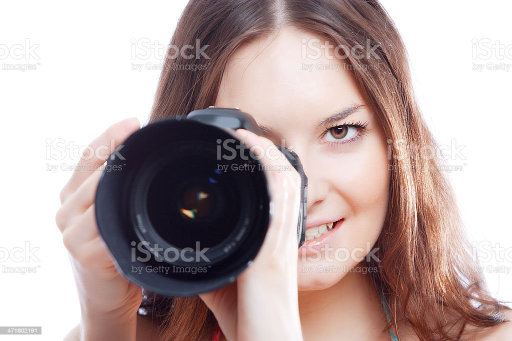 smiling woman with professional camera royalty-free stock photo