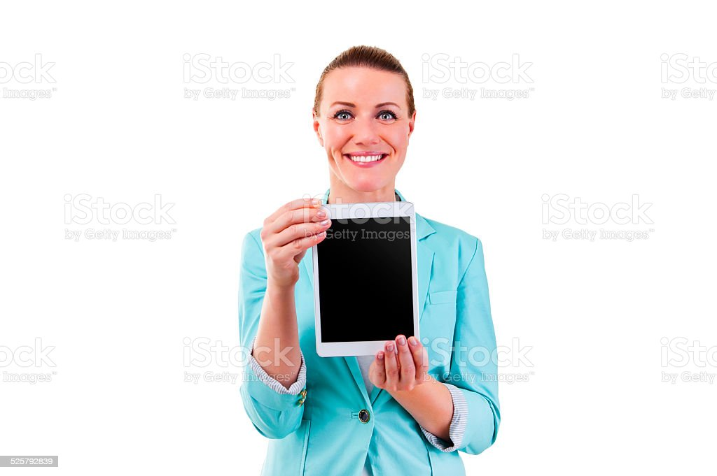 smiling woman with tablet touching stock photo