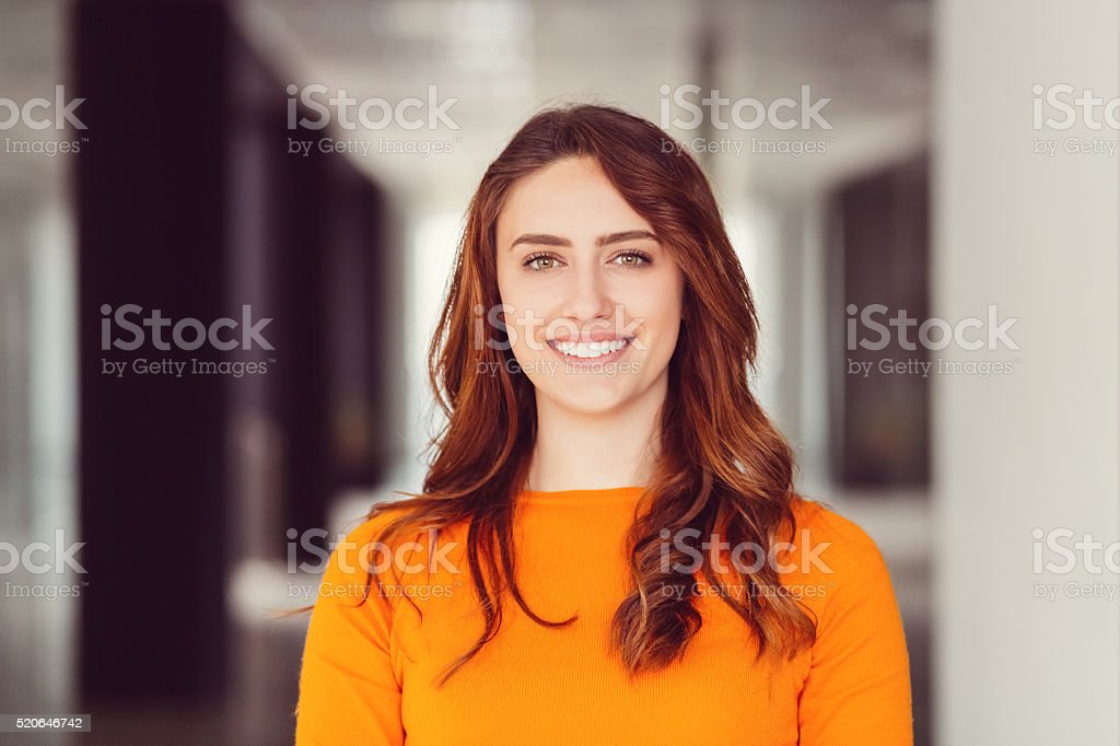 Smiling woman's portrait stock photo
