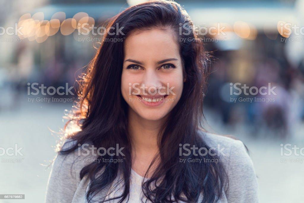 Smiling woman's portrait stock photo
