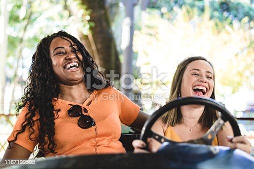 1035136022 istock photo Smiling women in the amusement park cart 1167199595
