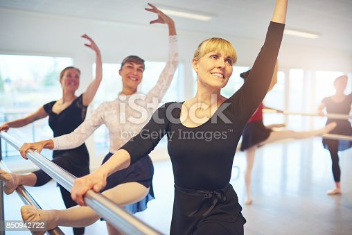 istock Smiling women posing and doing gymnastics in ballet class 850942722
