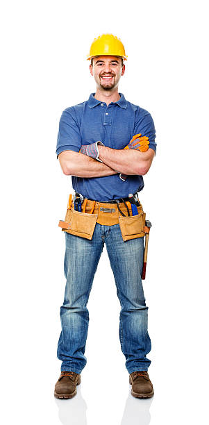 smiling worker - tool belt stock photos and pictures