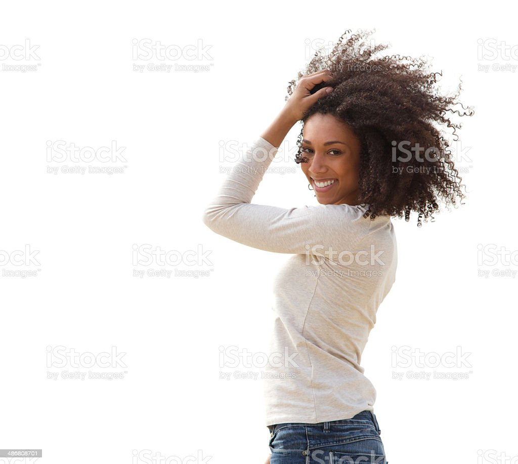 Smiling young african american woman stock photo