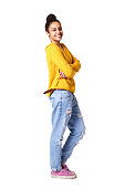 istock Smiling young african woman with her arms crossed 539462542