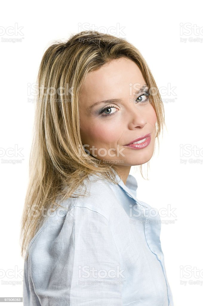 Smiling young blond woman royalty-free stock photo
