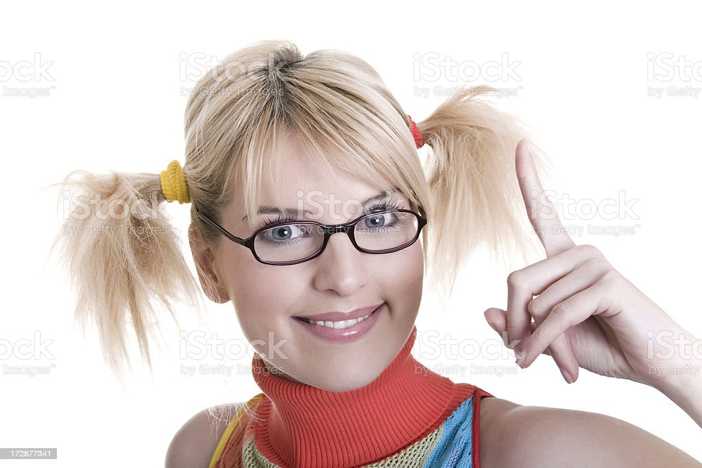 Smiling young blond woman with pigtails royalty-free stock photo