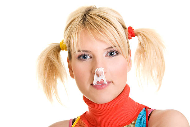 smiling young blond woman with pigtails - pigtails stock photos and pictures