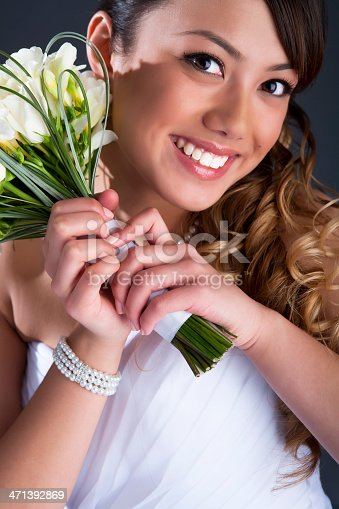 Beautiful young bride on gray background