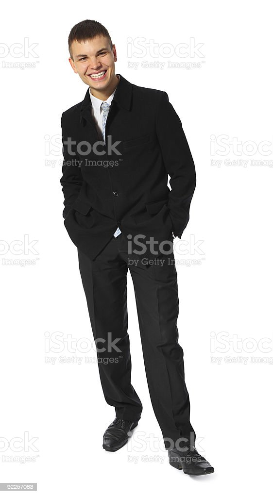 smiling young businessman full body stock photo