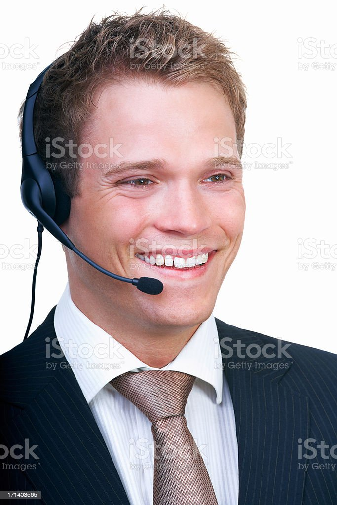 Smiling young businessman with headset isolated  white background royalty-free stock photo