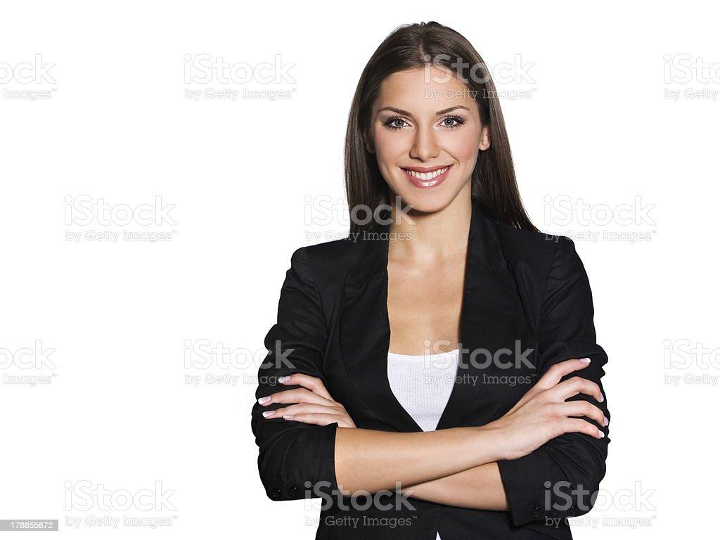 Attraente donna d'affari con le braccia incrociate - foto stock