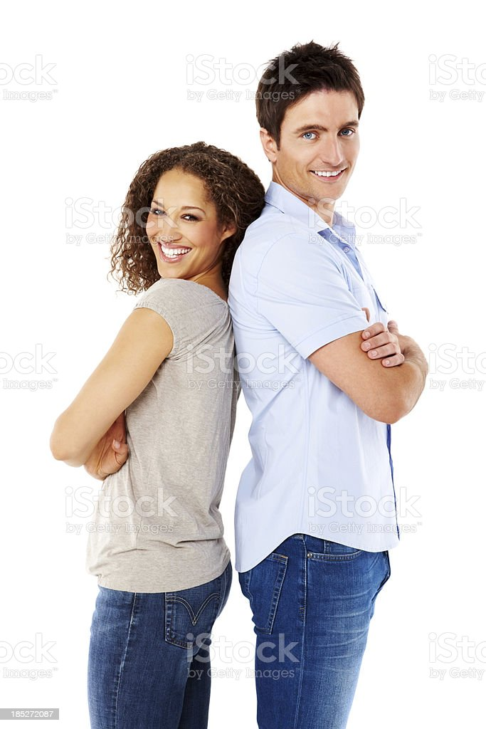 Smiling young couple standing together royalty-free stock photo
