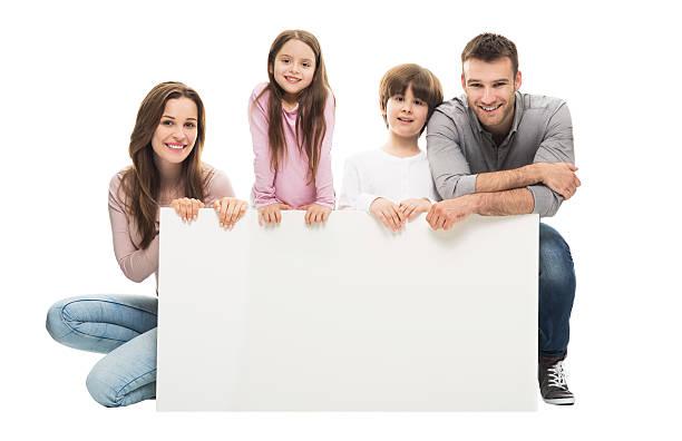 familie mit banner - heiratssprüche stock-fotos und bilder