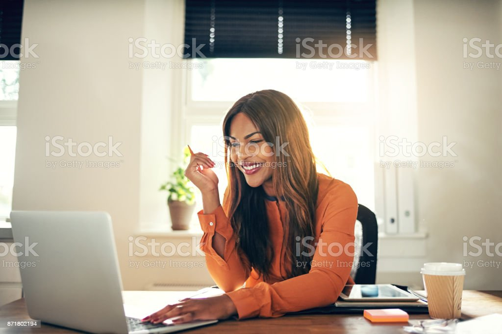 Smiling young female entrepreneur working on a laptop at home stock photo