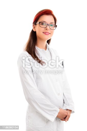 istock Smiling young female scientist in white uniform 1186360154