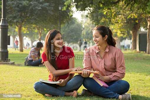 istock Smiling young girl reading a book at the park - Stock image 1029804588