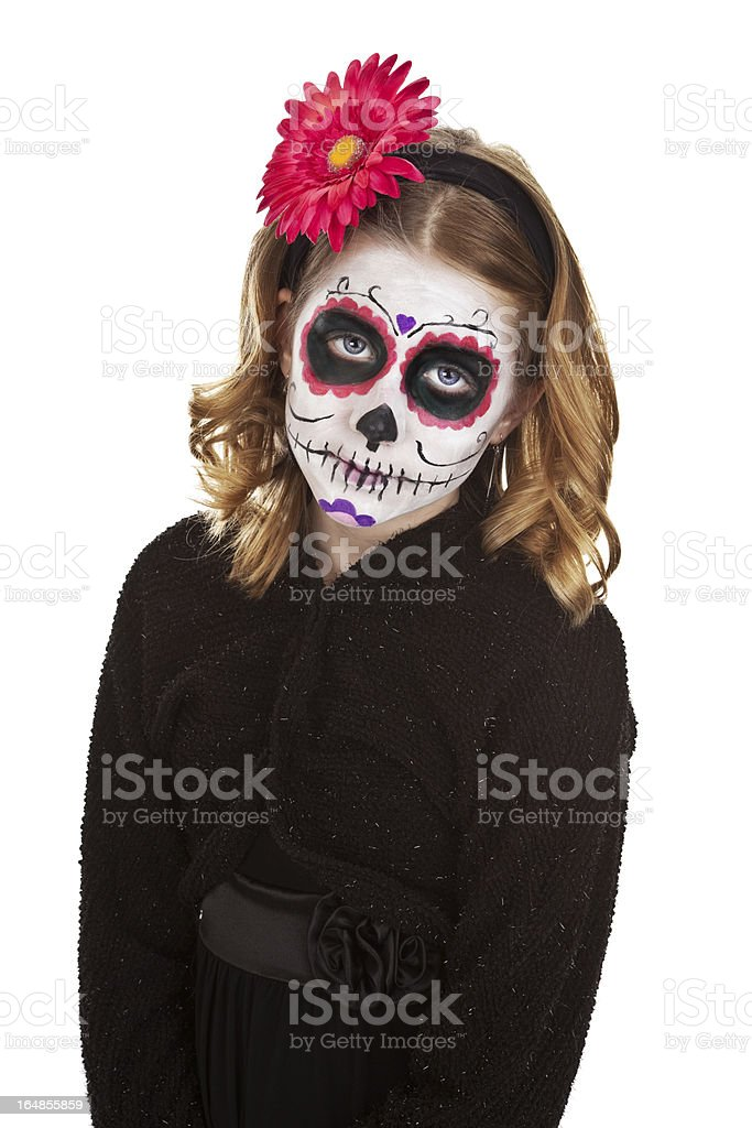 Smiling Young Girl With Sugar Skull Make Up royalty-free stock photo